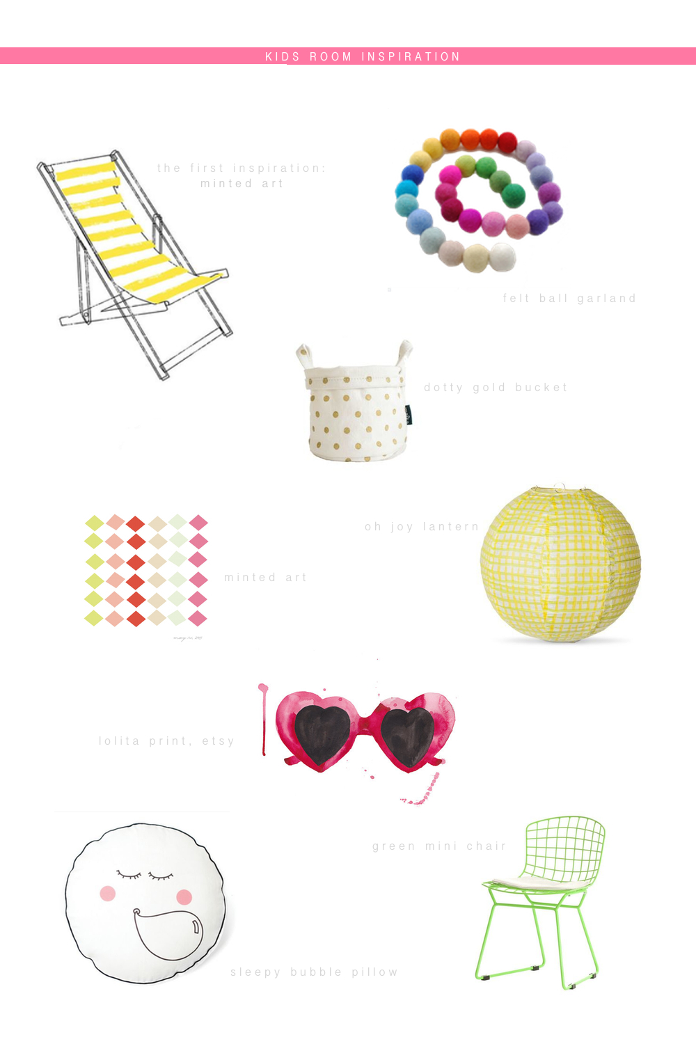minted chair  |  felt garland  |  dotty bucket  |  lantern  |  minted print  |  sunglasses  |  chair  |  pillow