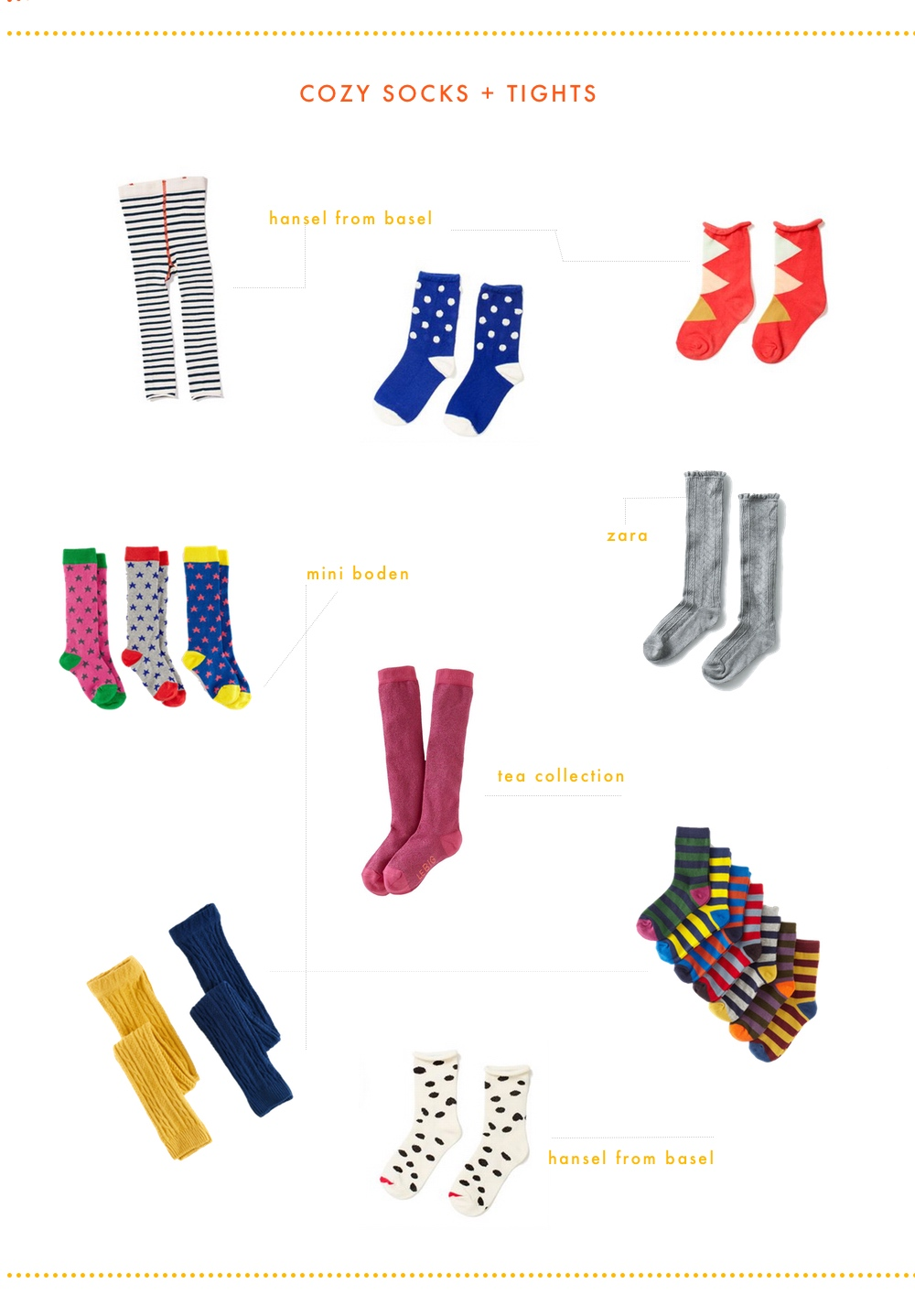 striped tights  |  blue dots  |  red triangle  |  knee-high stars  |  pink sparkle  |      grey lace  |  cable footless  |  white & black  |  striped set