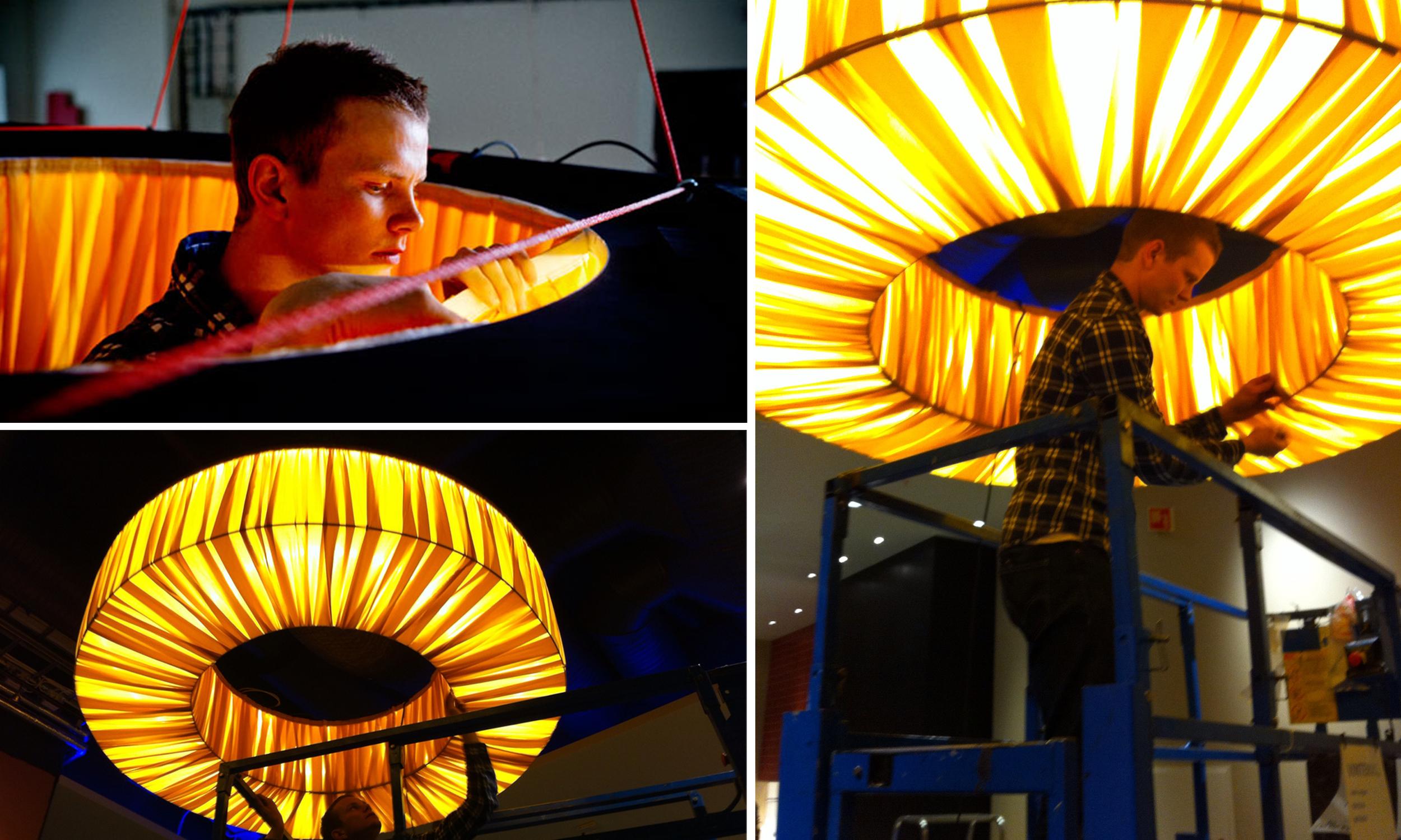 Montering av lampe for Noora Cafè & Grill på Sirkus Shopping.