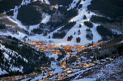 Winter Scene over Beaver Creek at night. Colorado. USA.