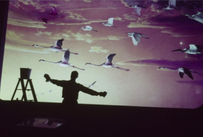 Silhouetted Man Against Mural of Flying Birds, Spring Cleaning at Museum of Natural History, by Jack Burns