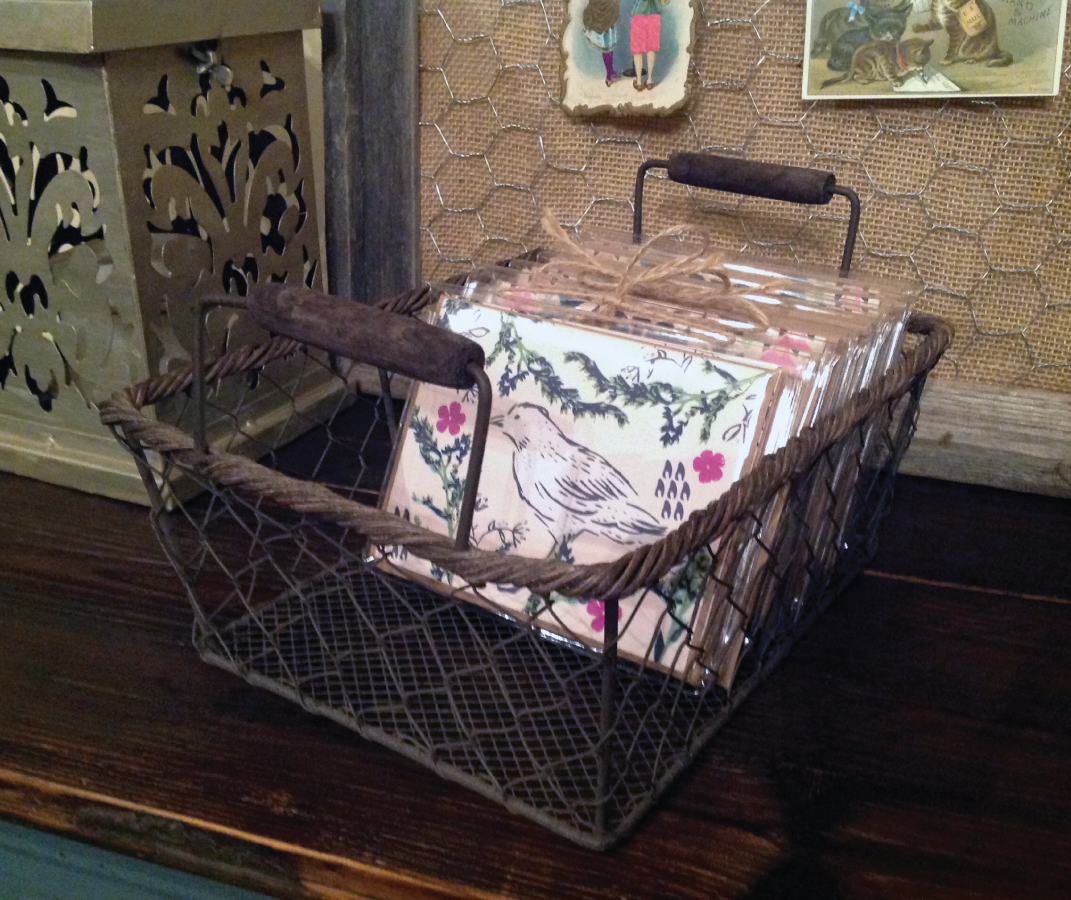 Wire Basket Counter Display ~ holds individual cards & sets of cards
