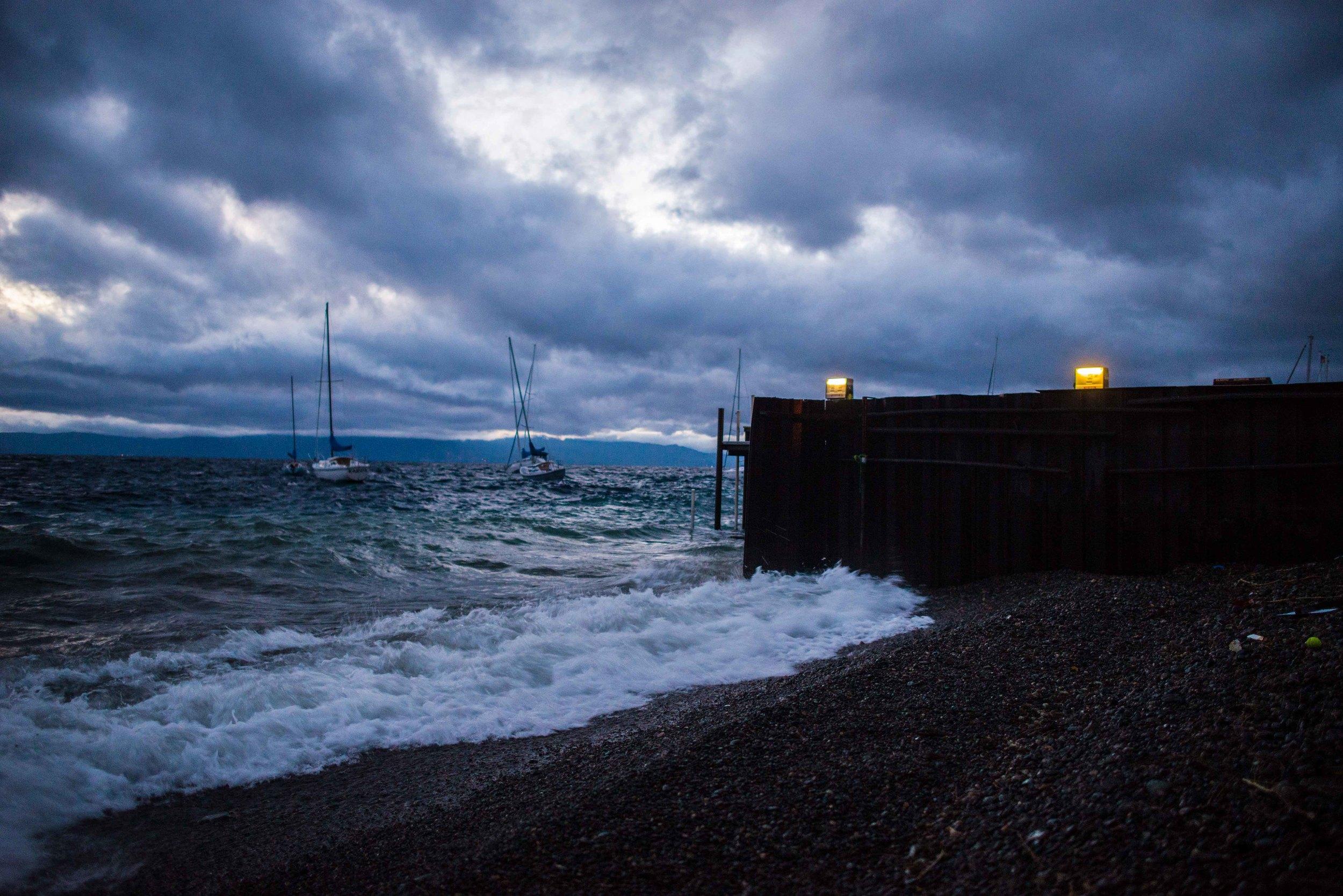 rough seas, dim light