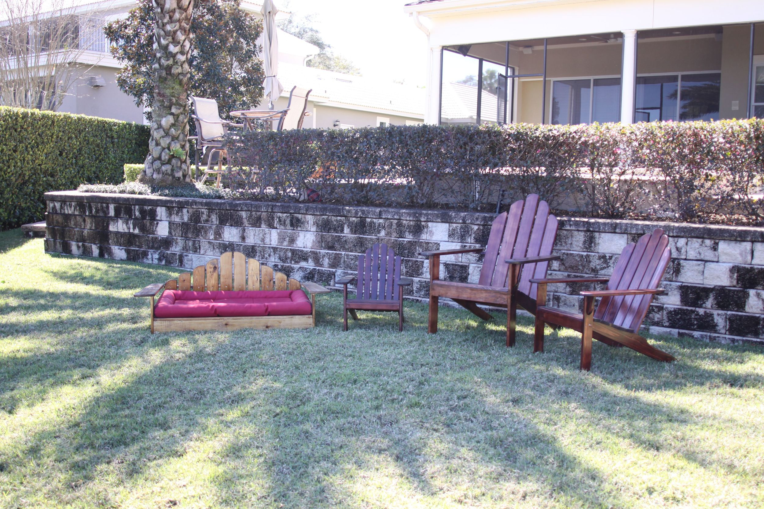 Adirondack Chairs with Dog Bed