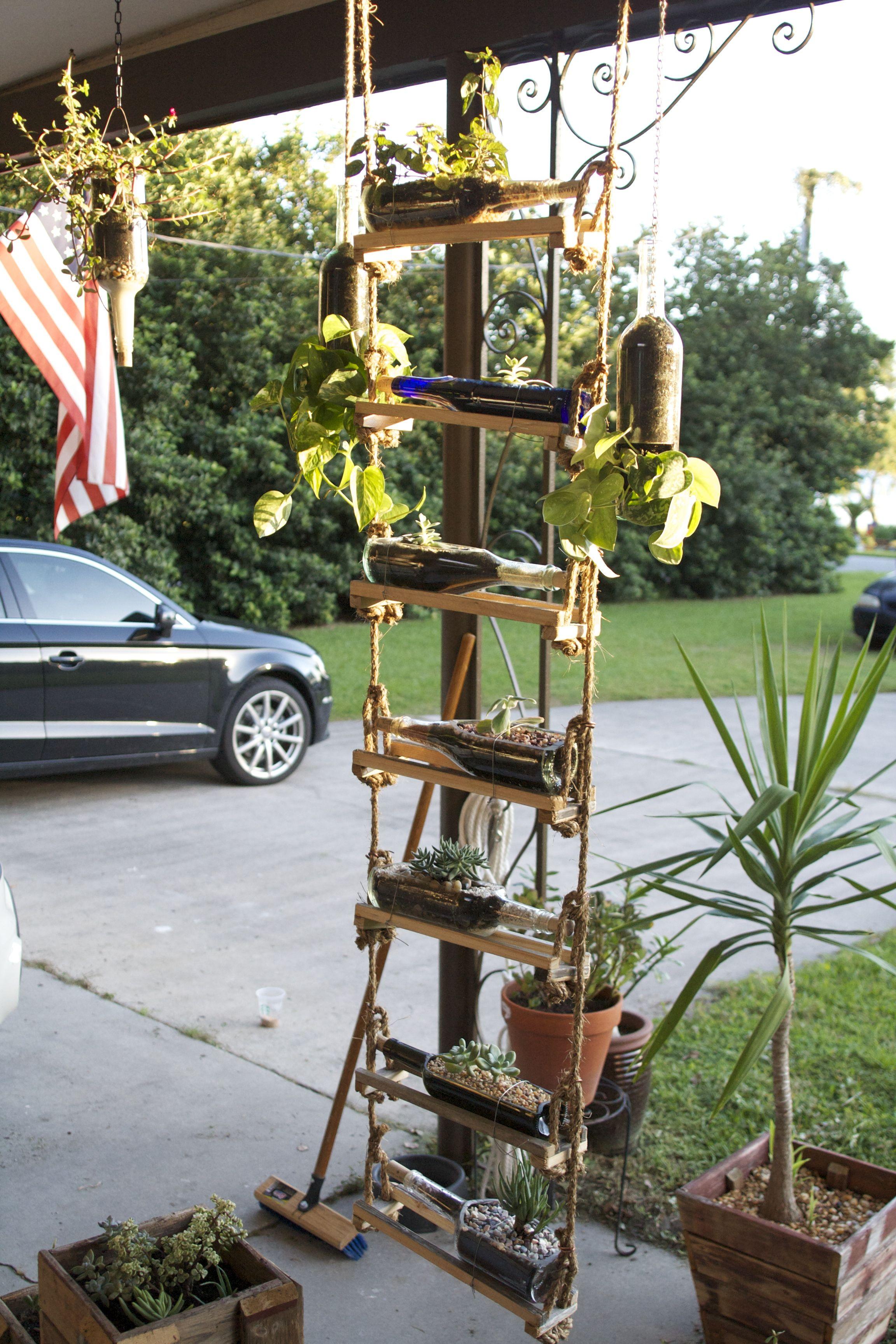 Wine Bottle Succulent Planter Ladder Holder