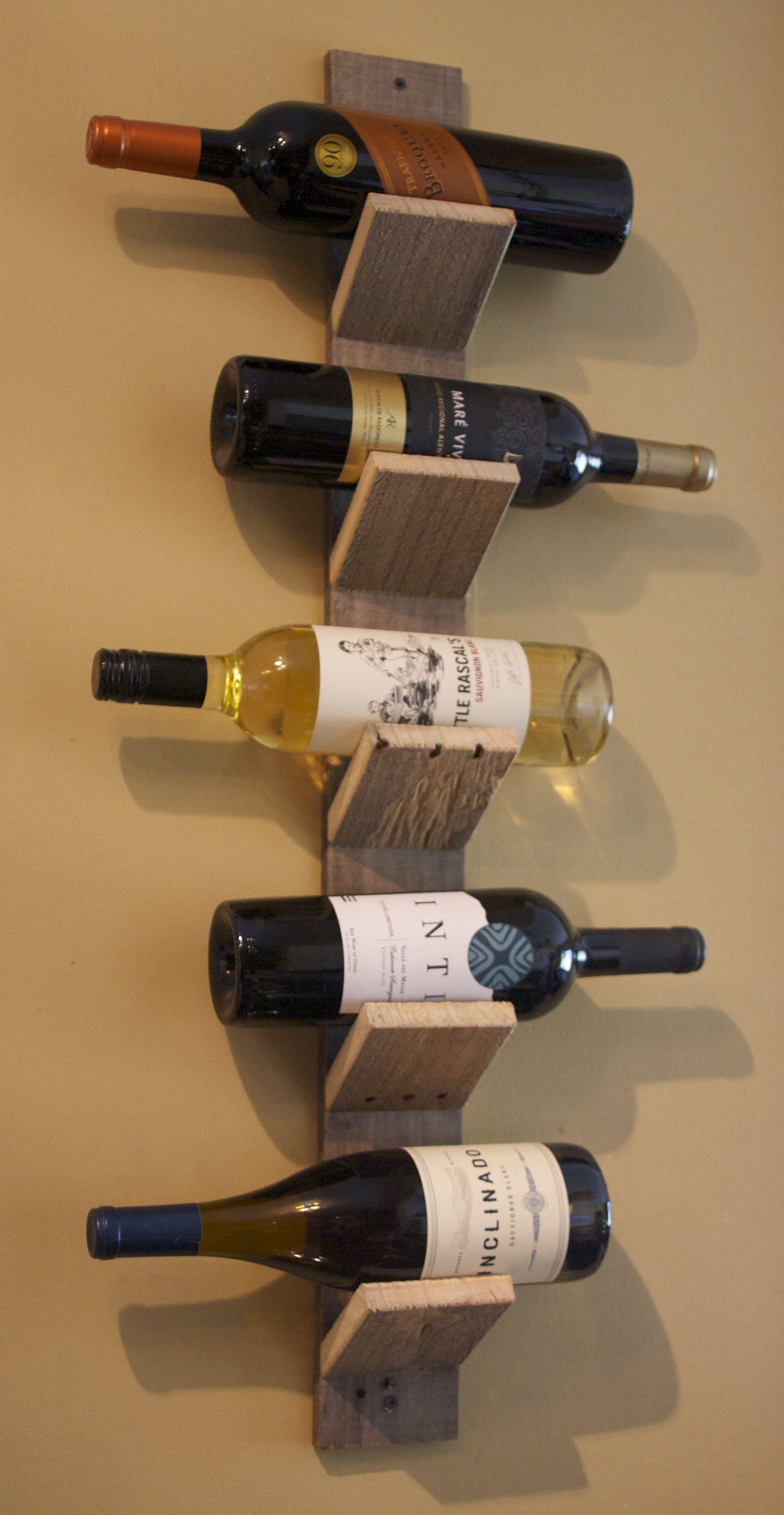 5 Bottle Pallet Wood Wine Holder