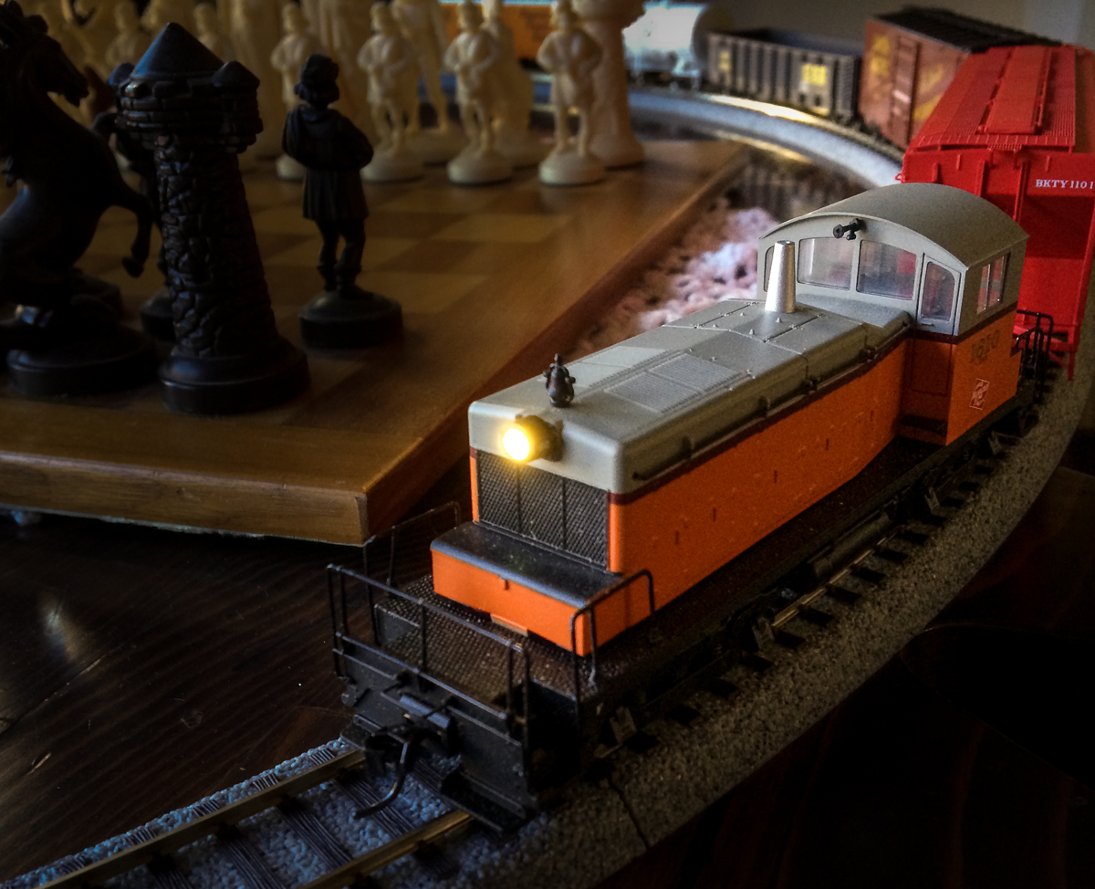 HO Switcher with Christmas train in tow.