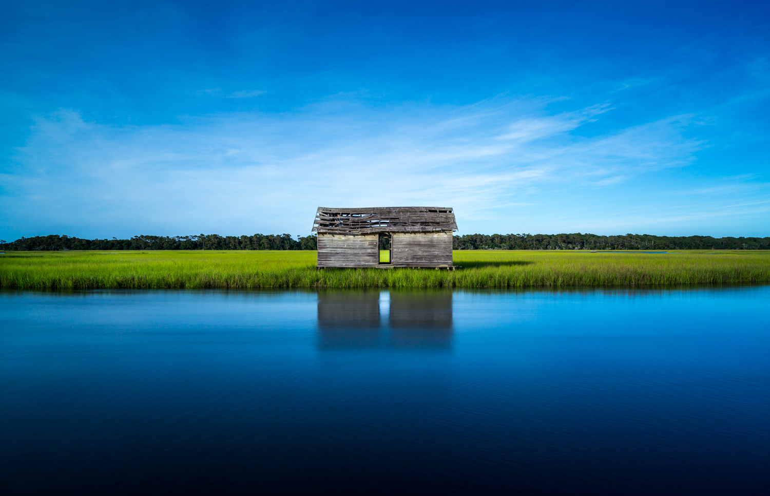 Baldhead Island North Carolina Boat House Landscape