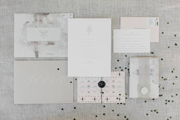 joy-thigpen-modern-wedding-invitation-suite-vellum-wax-seal-black-confetti-gatherco-gather-co-calligraphy-gray-watercolor-betsy-dunlap