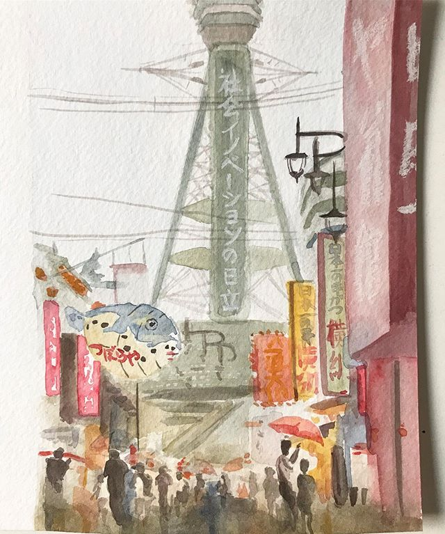 getting caught in the rain in Shinsekai district, Osaka. From our Japan travels in August. watercolor, gouache, ink. . . . . #watercolor #travel #cityscape #osaka #japan #jacquelinetam #painting #illustration