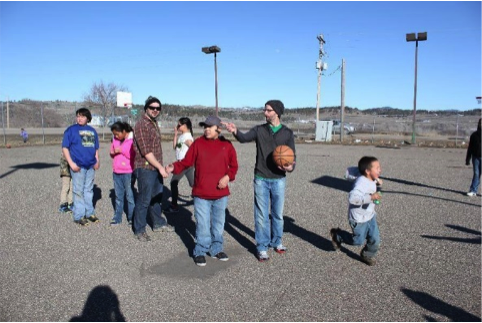 Basketball games with Crow children