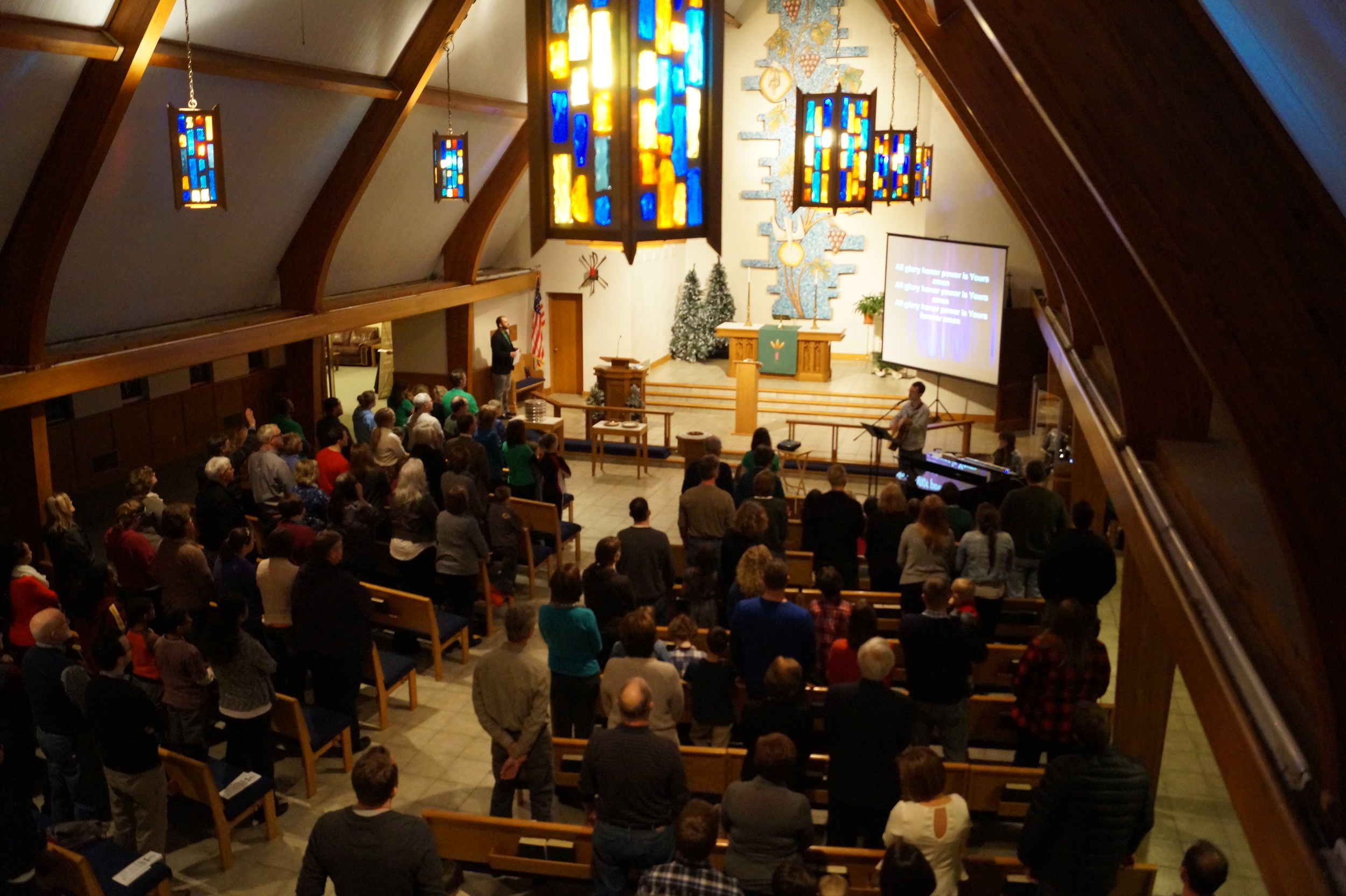 Worshippers gather at Genesis Church's launch service on January 25.