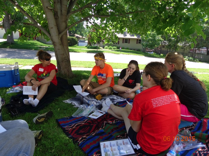 Students gather for a midday devotion during the Rochester Servant Event.