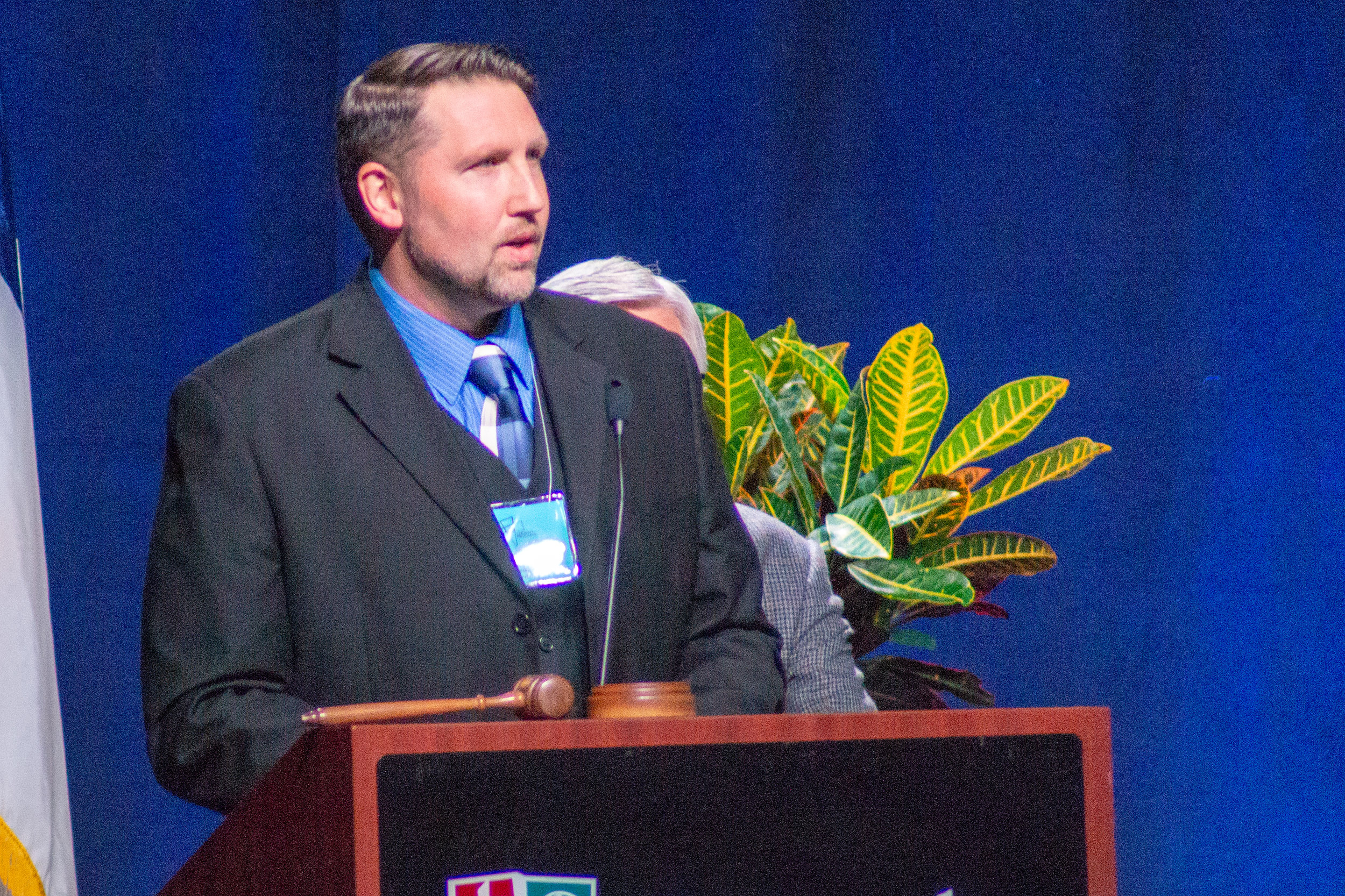 President-Elect Woodford addresses the convention shortly after his election on Thursday, June 21.