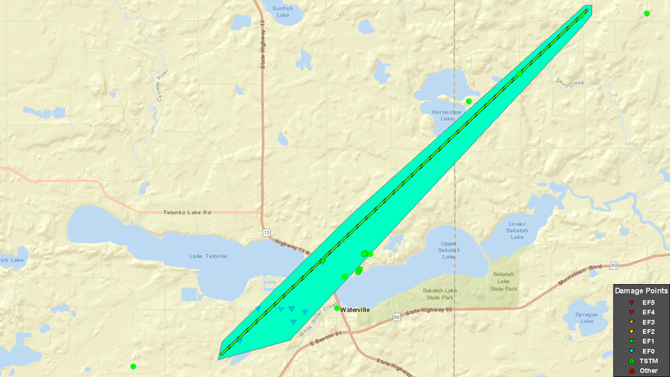 A map from the National Weather Service showing the tornado track (green line; tornado damage is the green outline). Camp Omega is located on the southeast side of Horseshoe Lake, shown in the upper right on the map.