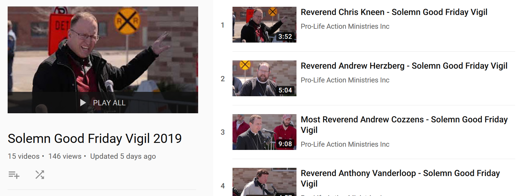 Fourteen area pastors spoke at regular intervals during the 7.5-hour vigil. Click the image above to view their messages on YouTube, including a message by local LCMS Pastor Andrew Herzberg of Trinity Lutheran Church in Farmington, MN.