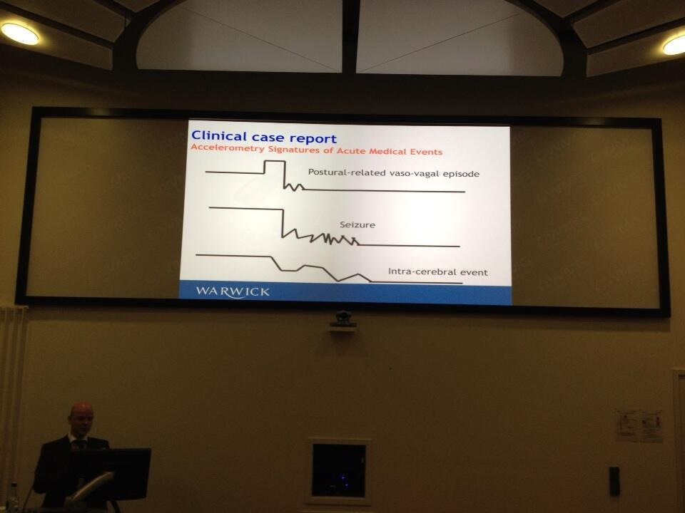 Dr Tom Berber spoke on the accelerometery signatures of acute medical events when monitoring elderly patients