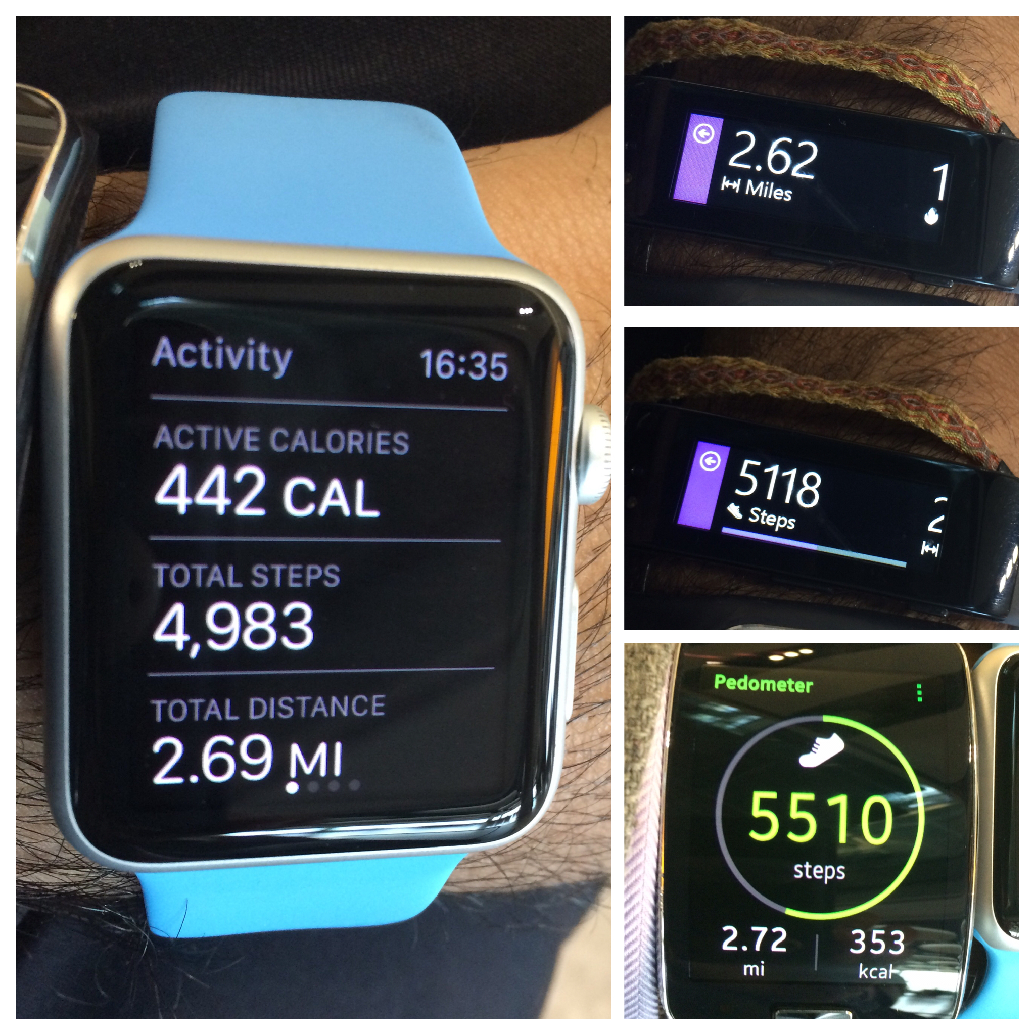 Apple Watch (left), Microsoft Band (top right), Gear S (bottom right)