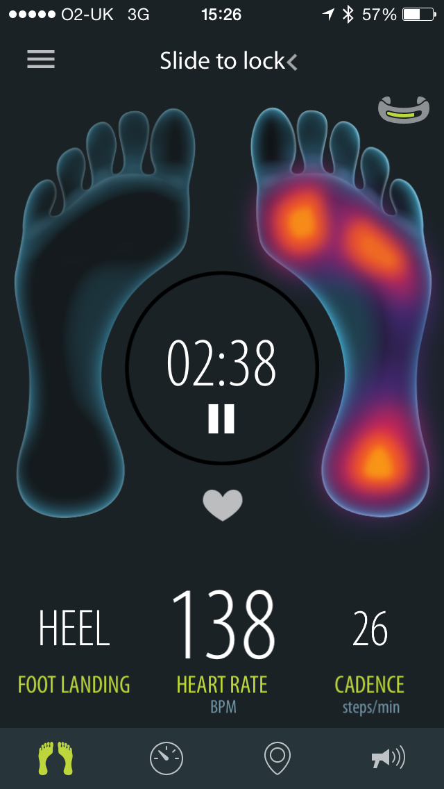 Sensoria app showing data from the socks as you run