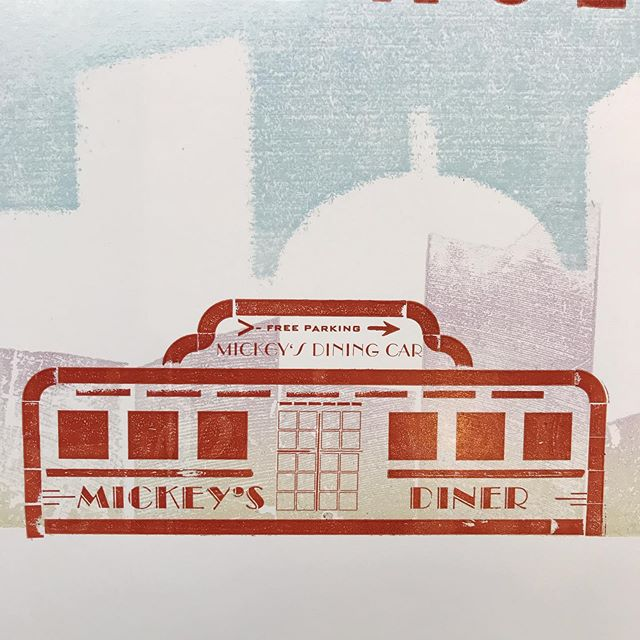 Remember that time I set the iconic #mickeysdinercar in metal type? Still one of my favorite posters, and of course, it doesn't sell. 🤷🏻♀️