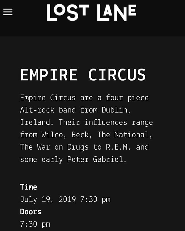Live @lostlanedublin July 19th. Tickets on sale Now!! #empirecircus #liveperformance #lostlane #dublin #tickets #onsale #16  #seeyouthere