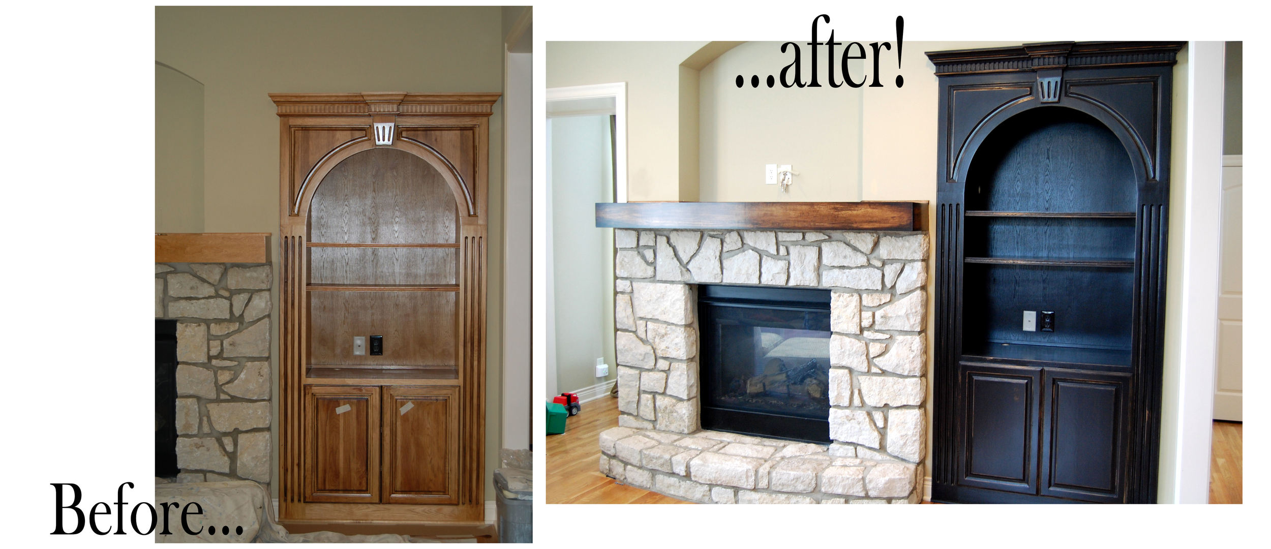 before and after built in cabinet and mantle.jpg