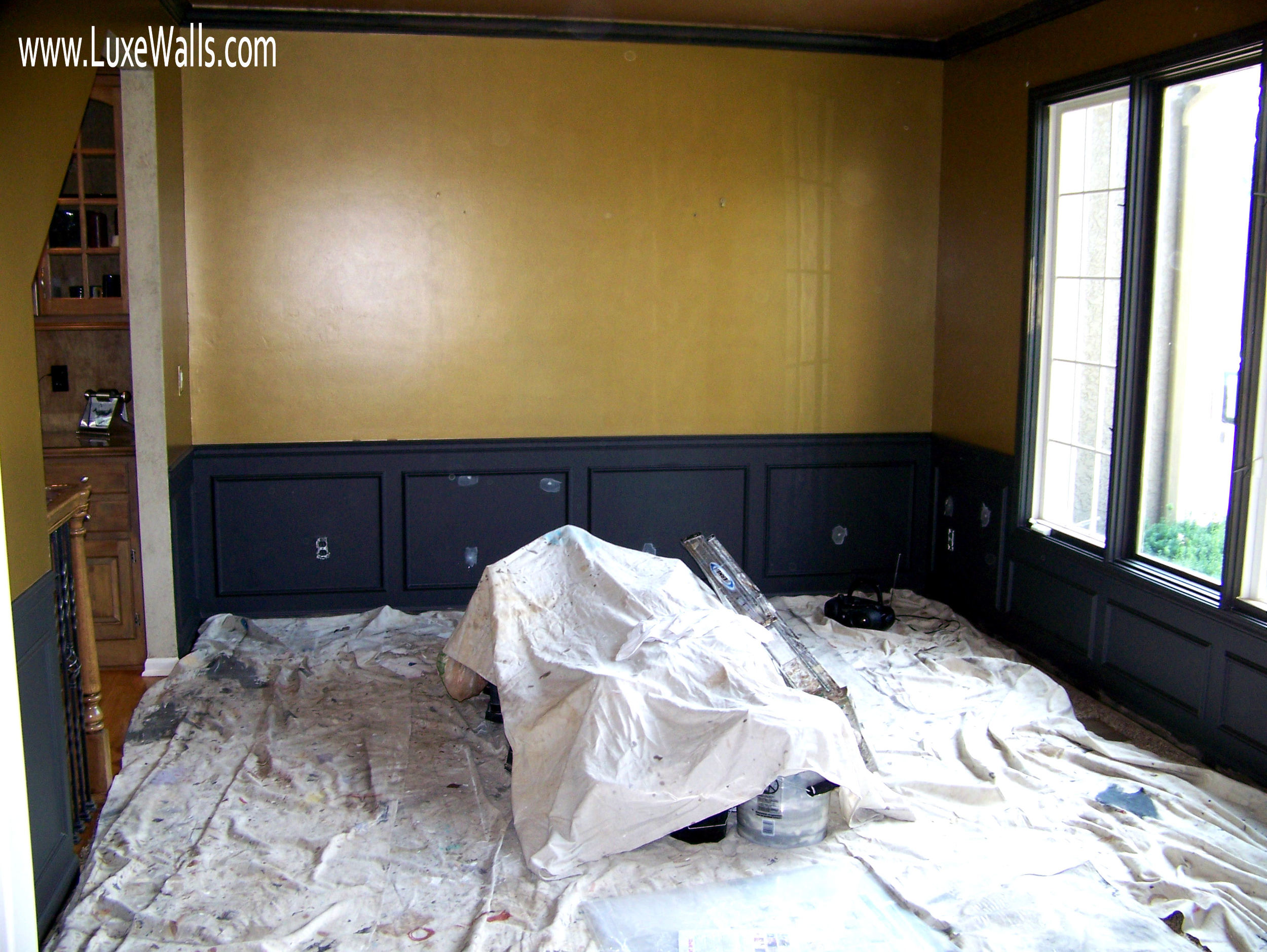 after the white trim was primed with a dark gray primer