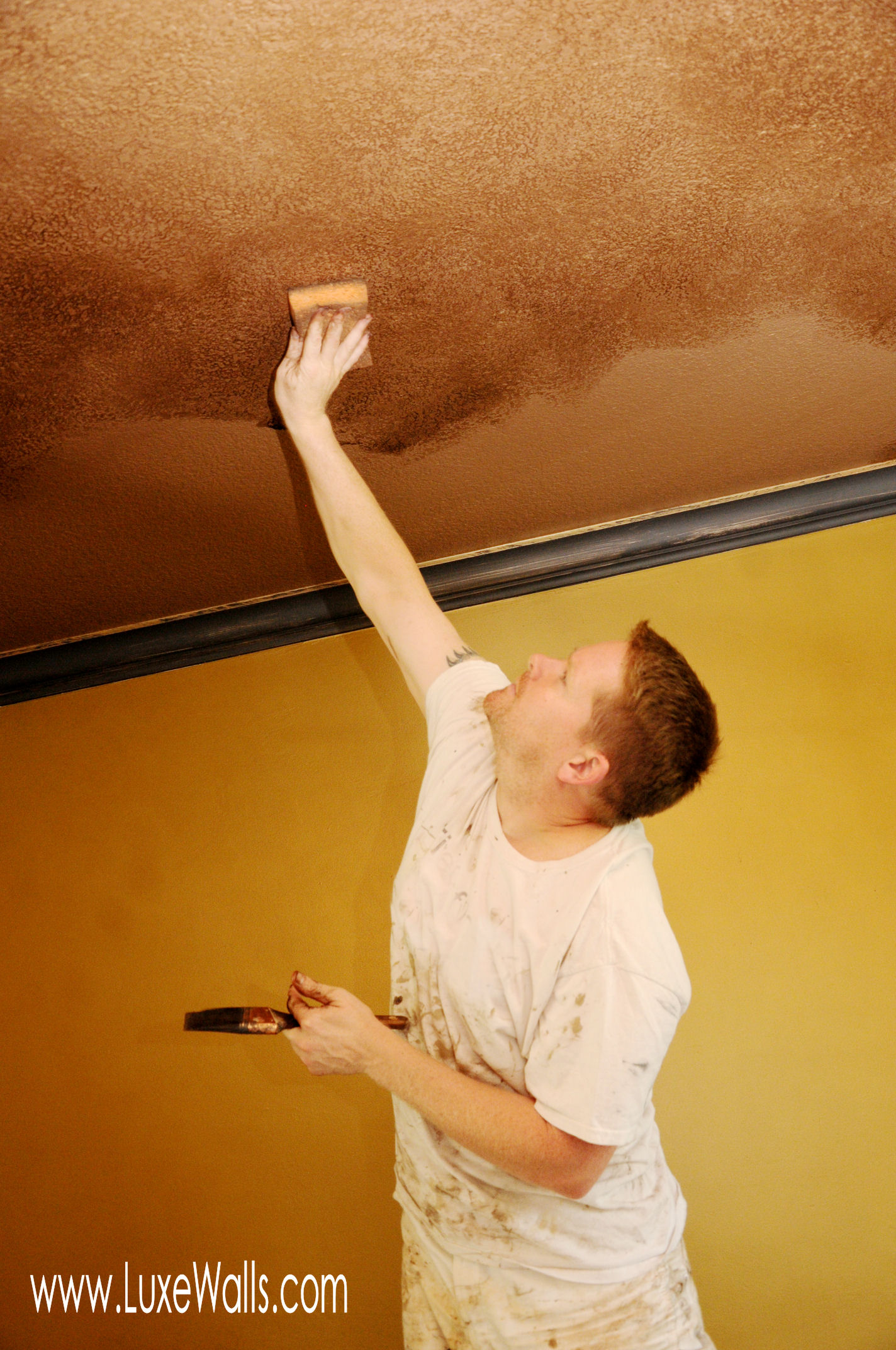 Carl glazing the dining room ceiling