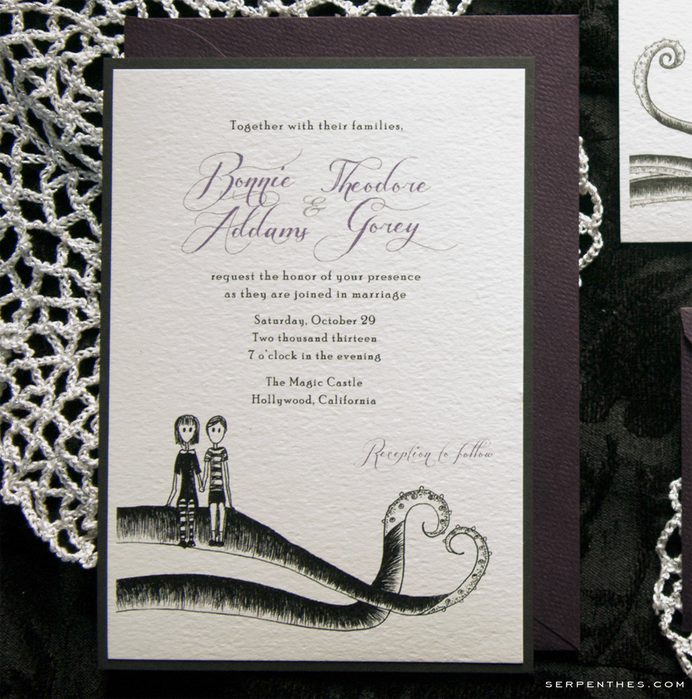 Addams & Gorey - Custom Double Layer Wedding or Party Invitation
