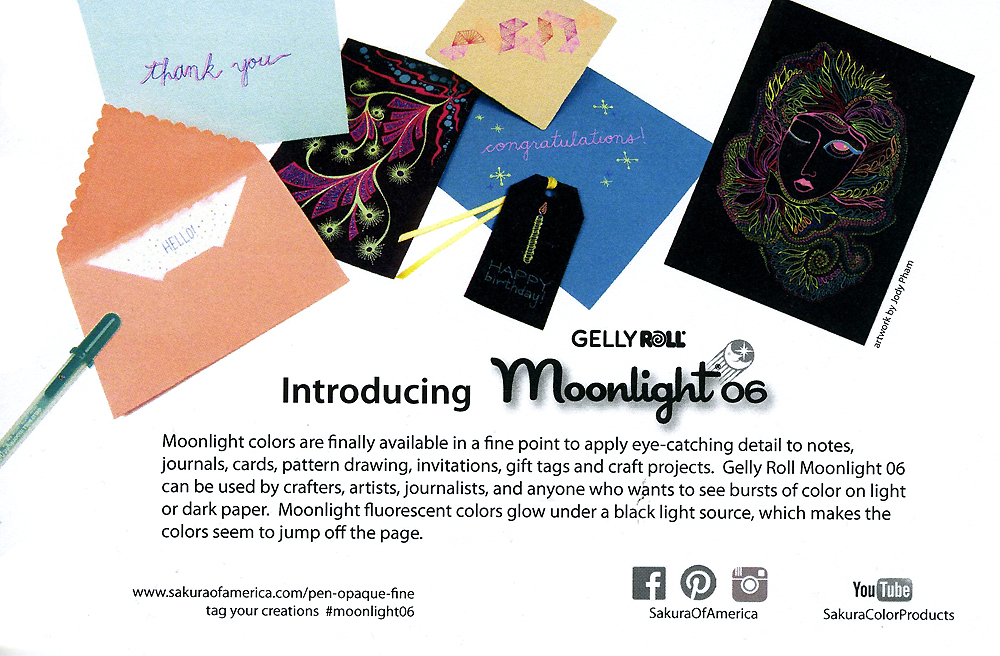 It's an honor to have my drawing sample included in Sakura's press packs for the Gelly Roll Moonlight 06 pens!