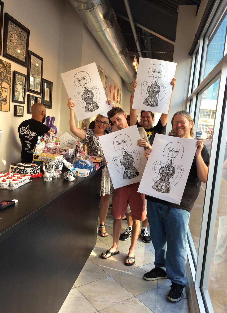 """Atama and I gifted the first fifteen attendees with complimentary silkscreen art prints of my illustration """"In Bloom"""". The edition consists of forty prints, and there are still a handful available  here ."""