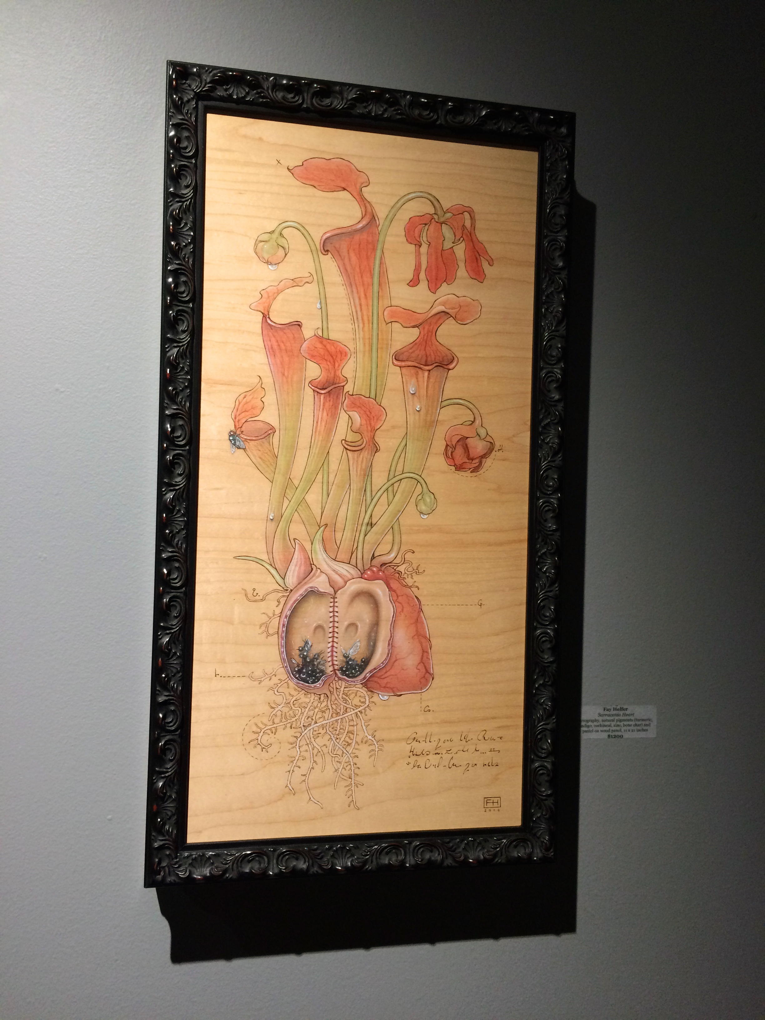 'Sarracenia Heart' by Fay Helfer. I love that this one was created using pyrography and natural pigments, including indigo, turmeric, bone char, and cochineal.