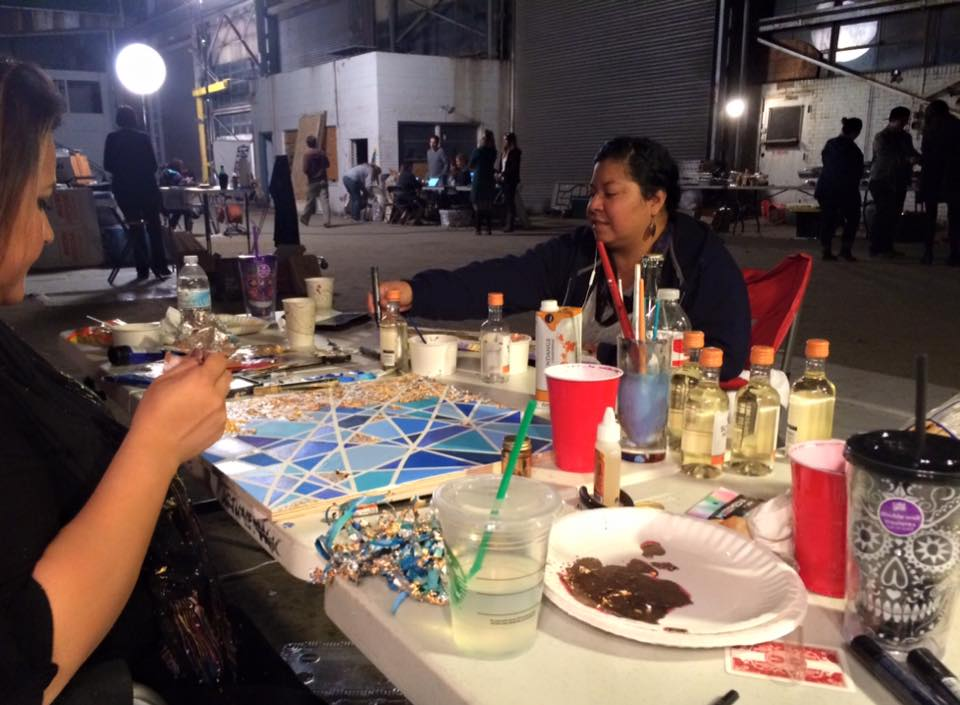 My lovely friends  Iris  (creative pastry chef/painter/mixed media goddess) and Edna, hard at work.