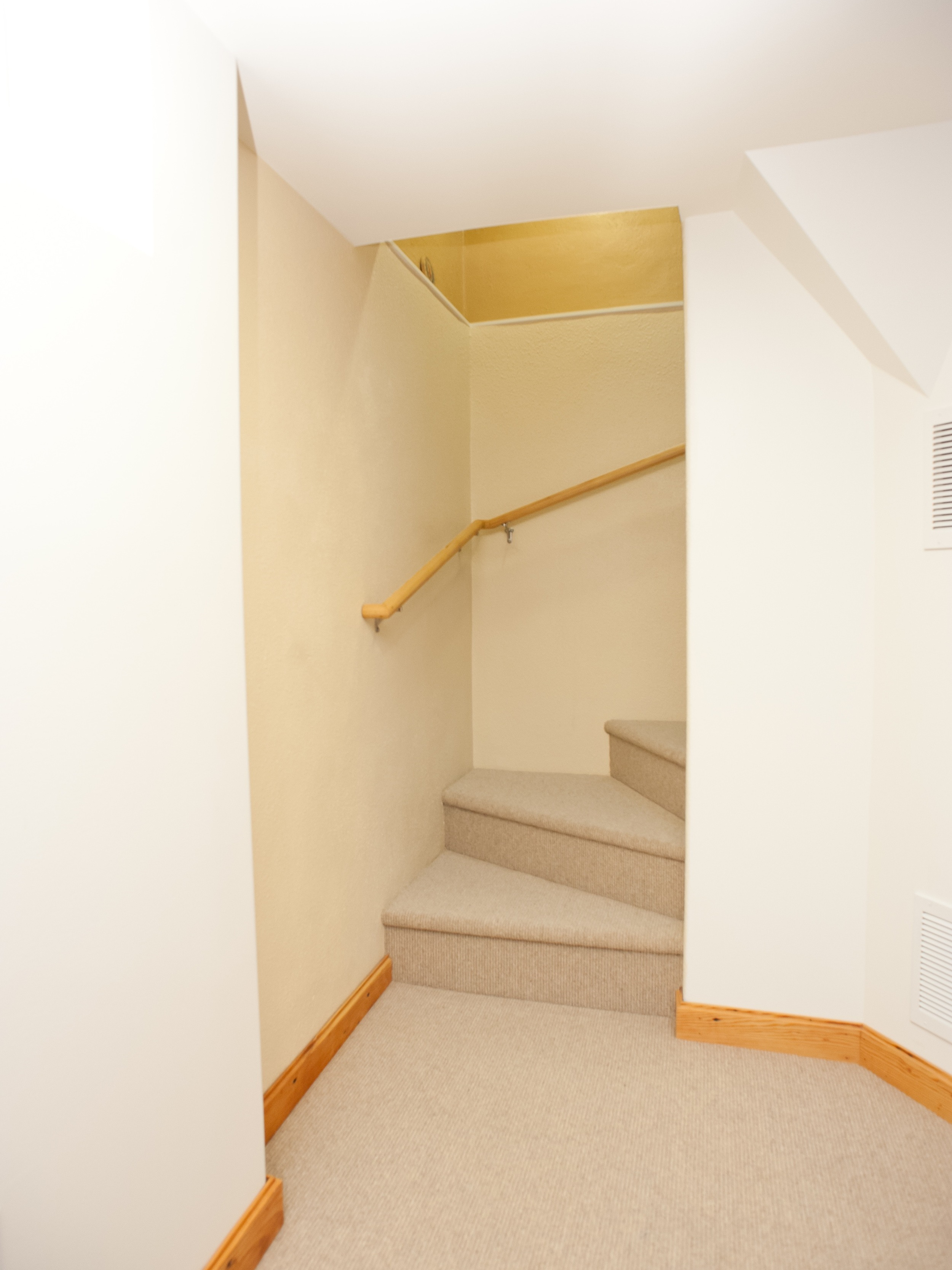 AFTER: Improved headroom, rise/run, handrail and surface (carpet added)...Compliant!