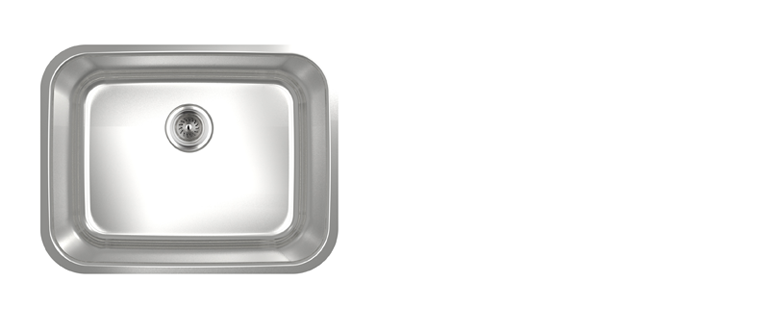 Evier de cuisine sous-plan rubi malbec cuve simple acier inoxydable coin arrondi 585S