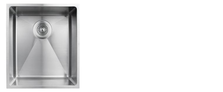 Evier de cuisine sous-plan rubi merlot cuve simple acier inoxydable coin arrondi 370D