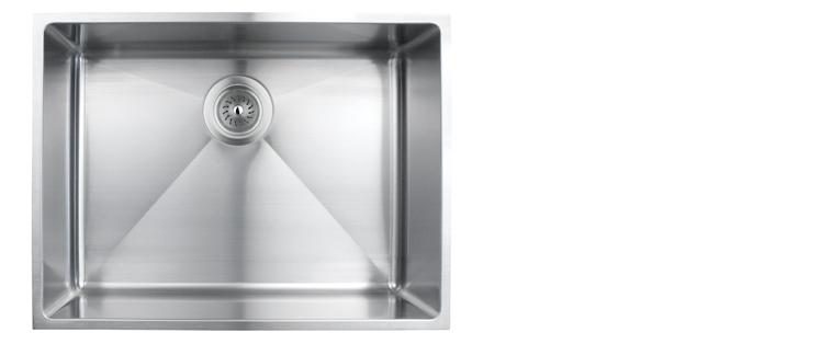 Evier de cuisine sous-plan rubi merlot cuve simple acier inoxydable coin arrondi 570D