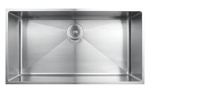 Evier de cuisine sous-plan rubi merlot cuve simple acier inoxydable coin arrondi 800S