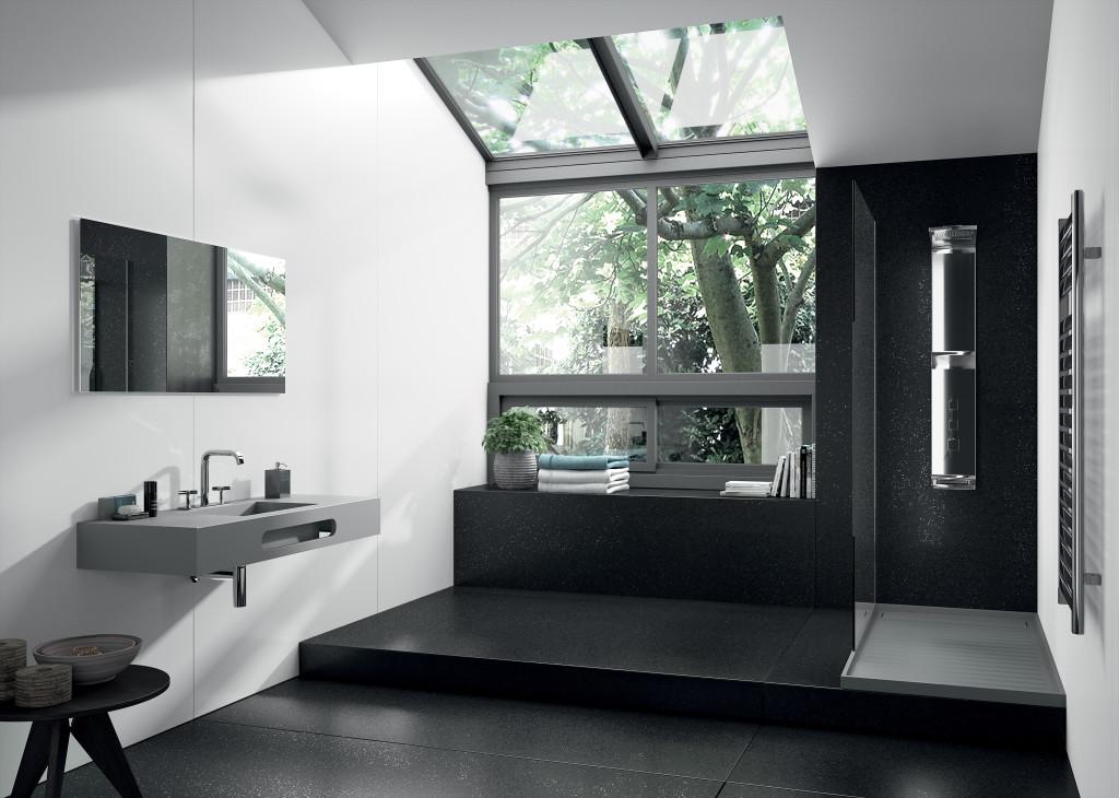 lavabo salle de bain quartz gris silestone