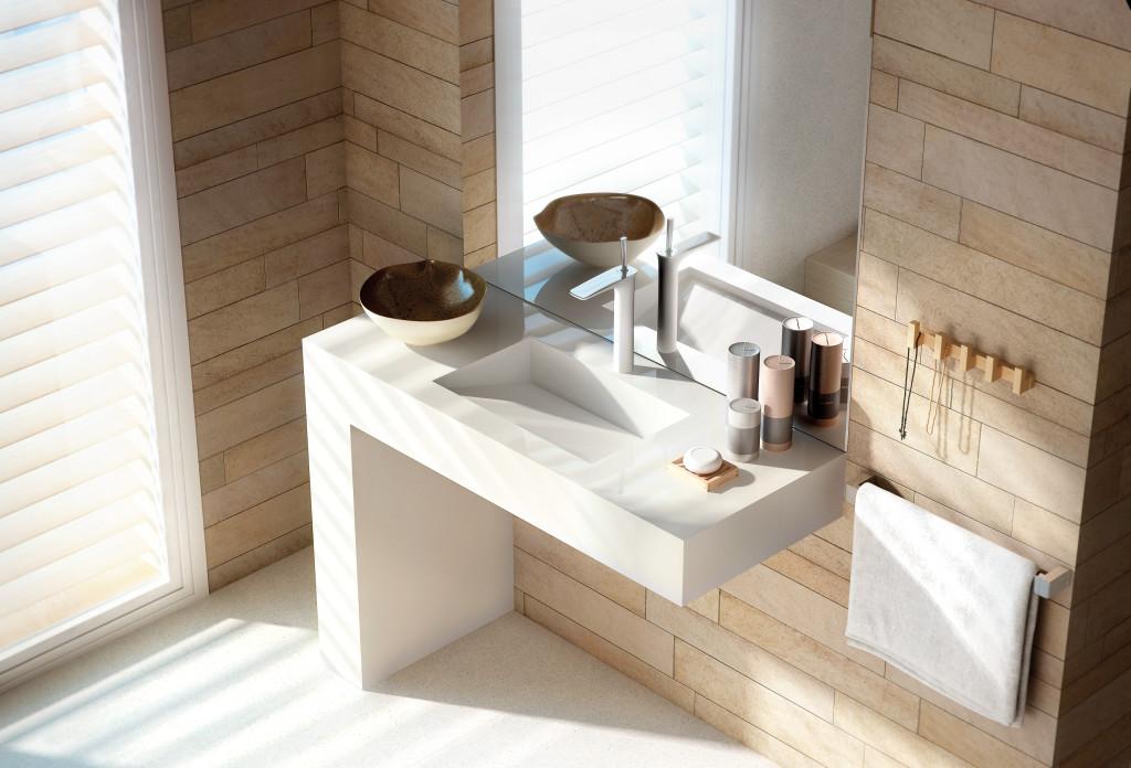 lavabo salle de bain quartz blanc silestone balance