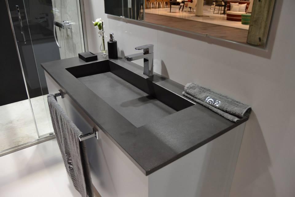 lavabo salle de bain quartz silestone cemento