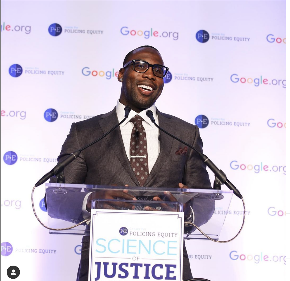 Anquan Boldin speaking at the 2018 Center for Policing Equity's Champion for Justice.