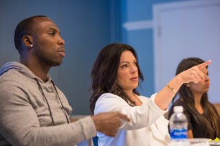 Angela LaChica and Anquan Boldin at a charity board meeting.