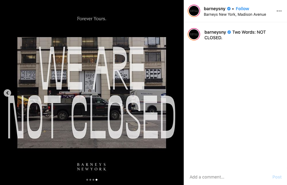 Barney's instagram we are not closed Dear Shoppers bankruptcy campaign best in fashion business.png