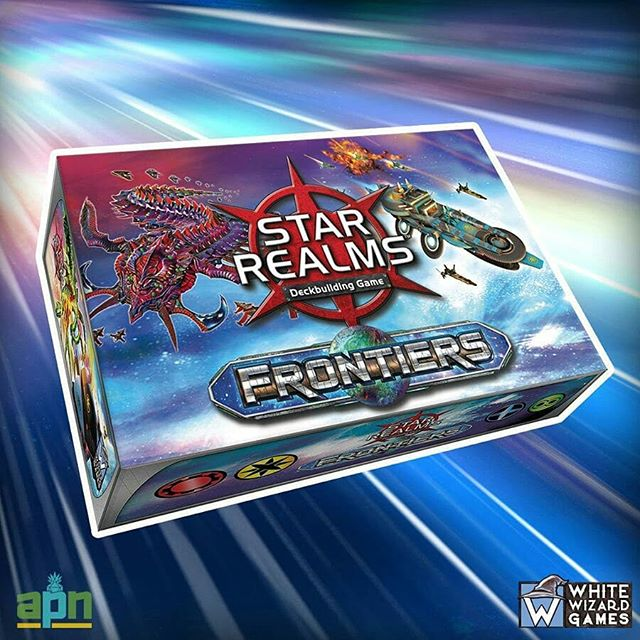 Forge your fleet, enlist your allies, prepare your defenses, and outwit your enemies to claim your Star Realm! ⠀ Deck-building game fans, set your targets on your FLGS because soon they'll be carrying @WhiteWizardGames latest addition to the Star Realms family, Star Realms Frontiers! Serving as both a stand-alone game for 1-4 players as well as an expansion for past Star Realms releases, Frontiers is going to be a must-have set for your collection! Over 150 new cards including an 80-card trade deck, starting decks for each player, score cards, and challenge cards. ⠀ ⠀ #boardgame #boardgaming #tabletopgames #tabletopgaming #cardgames #deckbuildinggame #dbg #boardgamegeek #bgg #cardgame #starrealms #whitewizard
