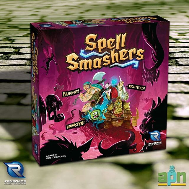 """Whoever said, """"Sticks and stones may break my bones, but words will never hurt me"""", had clearly never played Spell Smashers from @Renegade_Game_Studios! This new fantasy adventure game puts you in the role of a hero looking to rid the world of evil by smashing monsters with your spells. Wait, that's not quite right- by smashing monsters with your SPELLING SKILLS- there we go! This unique game marries monster slaying action directly to a word game mechanism, where spelling words with letter cards slays monsters! But as you adventure on, you'll sustain wounds in the form of difficult letter combinations added to your hand. Outfit yourself with gear, load up on potions, and grab an ale for the road: Spell Smashers arrives at your #FLGS in October!⠀ ⠀ #boardgame #boardgaming #tabletopgames #tabletopgaming #cardgames #boardgamegeek #bgg #cardgame #renegadegamestudios #spellsmashers #adventure #wordgame #spelling"""