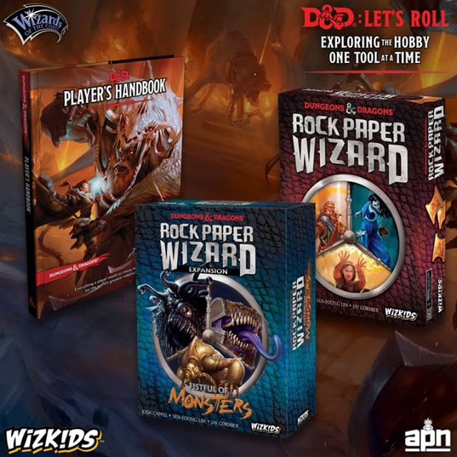 What would @dndwizards be without magic? Casting spells is both one of the most exciting things for new players, but it's also one of the more overwhelming aspects of the game. . A Taste of Magic: Rock, Paper Wizard from @WizKidsgames is a fun, hand signal driven romp that employs various spells from the D&D universe so you can mess with your friends in a board game setting. You'll see spell classics like Color Spray, Chain Lightning, Anti Magic Shield and more. While you'll almost never see a bunch of wizards flinging spells across the table in 5th Edition combat, this is a great way to get to know the kinds of options you might have available to you, so when you roll up that arcane powerhouse, you have a basic idea of the kinds of effects these spells might have. . @dndwizards @wizardsofthecoast #wizkids #boardgames #boardgaming #boardgame #bgg #boardgamegeek #rockpaperwizard #dnd #dungeonsanddragons #dndboardgame #boardgamenight #phb #playershandbook #letsroll #dndletsroll #gaming #games #game #gamer #dndfan #magic #wizard
