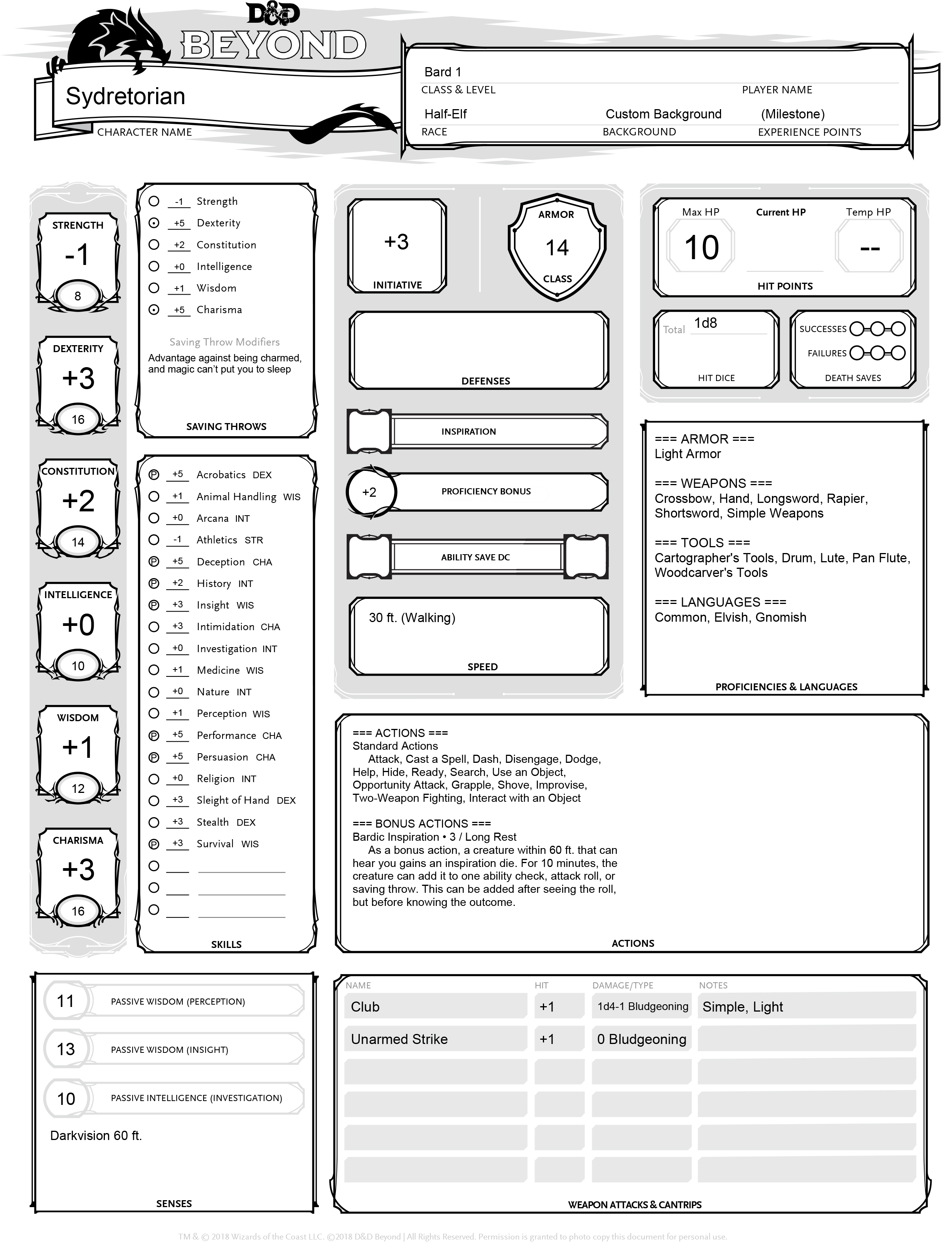 Sydretorian's Character Sheet, courtesy of DNDBeyond.com