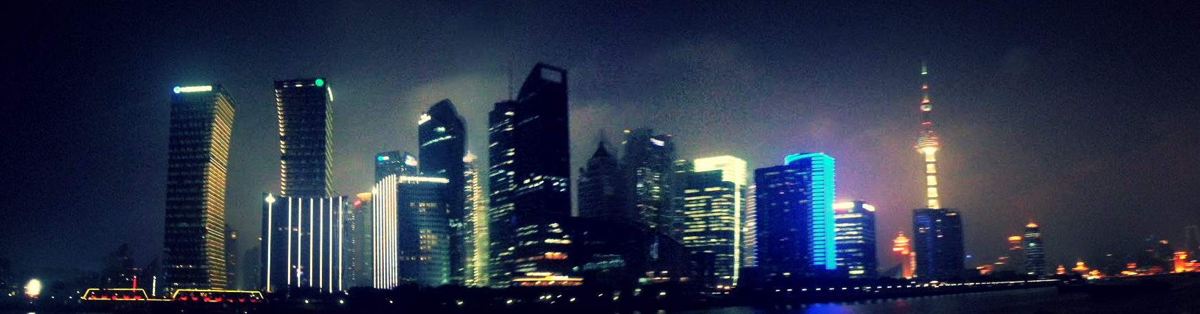 City skyline from river cruise at the Bund