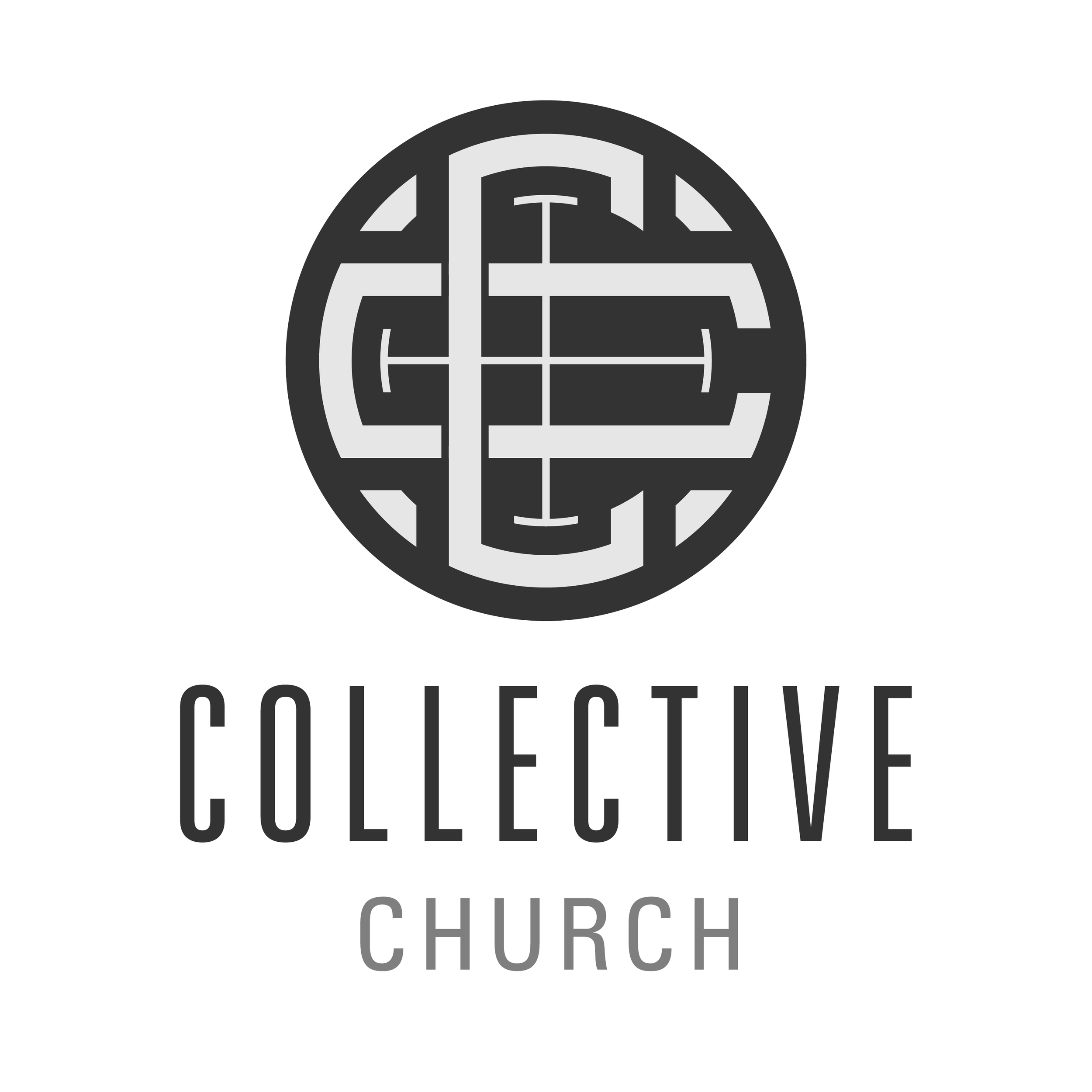 The logo incorporates the two Cs—one horizontal and the other vertical in orientation—of Collective Church. The cross is central to the mark and ties the elements together. The mark fits into a circular form which promotes the idea of unity and harmony in the body of Christ.